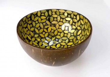 EatGreen Kokosová miska KVĚT žlutá 13 cm