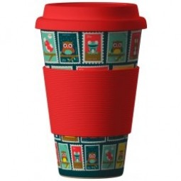 Eco Bamboo Cup - Stamps (známky) Red rudý