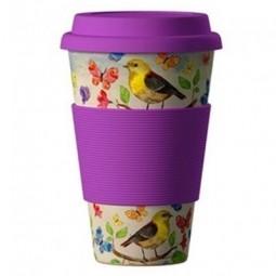 Eco Bamboo Cup - Birds, motýlci fialový