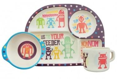 Ecoffee cup 3-dílný dětský BimBamBoo bambusový set Roboti
