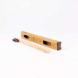 Bambusový zubní kartáček Medium black s čiernym uhlím