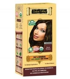 100% Rostlinná, 100% Organická barva na vlasy Tmavě hnědá