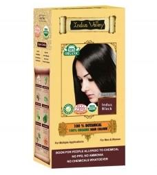 100% Rostlinná, 100% Organická barva na vlasy Indus Černá