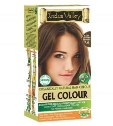 Akce spotřeba: 08/2021 Gelová barva na vlasy Tmavomedená Blond 7.4