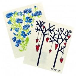 More Joy Kuchyňská pratelná utěrka 2ks Modré květy - Stromy a srdce