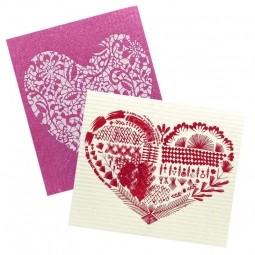 More Joy Kuchyňská pratelná utěrka 2ks Srdce - Růžové srdce