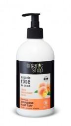 Organic Shop - Růže a broskev - Výživné mýdlo na ruce 500 ml
