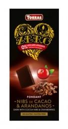 Torras ZERO hořká - kakaové boby a brusinky 125g