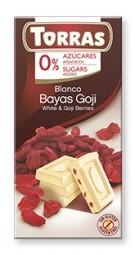 Torras čokoláda DIA bílá ček. s goji 75g