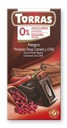 Torras čokoláda DIA hořká ček. s chilli 75g