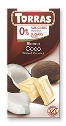 Torras čokoláda DIA bílá ček. s kokosem 75g