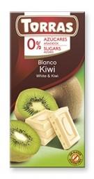 Torras čokoláda DIA bílá ček. s kiwi 75g