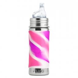 Pura® nerezová láhev s náustkem 325ml - Růžovo-bílá