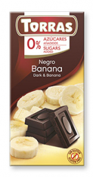 Torras čokoláda DIA hořká ček. s banánem 75g