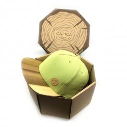 Čepice classic zelená BIO látka + kšilt TOULIPE dřevo - velikost M/L