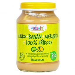 Příkrm jablko, banán, meruňka 190 g BIO
