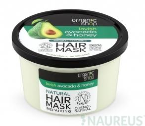 Organic Shop - Avokádo & Med - Maska na vlasy, 250 ml