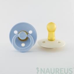 BIBS dudlíky z přírodního kaučuku 2 ks - velikost 2 - Baby Blue/Ivory