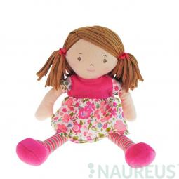 Látková panenka - Malá Fran růžové šaty 26 cm