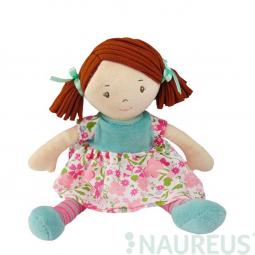 Látková panenka - Malá Katy růžovo-modré šaty 26 cm