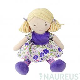 Látková panenka - Malá Peggy fialové šaty 26 cm