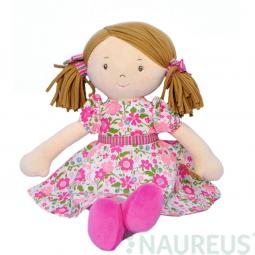Látková panenka - Fran růžové šaty 41 cm