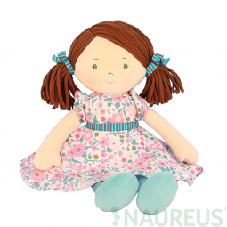 Látková panenka - Katy růžovo-modré šaty 41 cm