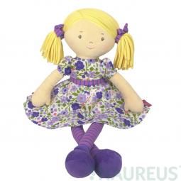 Látková panenka - Peggy fialové šaty 41 cm