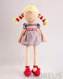 Látková panenka Ann - puntíkové šaty a blond copy 46 cm