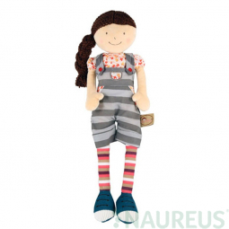 Látková panenka Ann - proužkované kalhoty na šle 46 cm