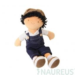 Látková panenka - chlapec Joe modré džínové kalhoty 38 cm