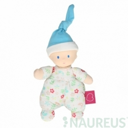 Mini panenka miláček 15 cm - květovaná modrá čepice