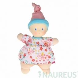 Mini panenka miláček 15 cm - Květovaná růžová čepice