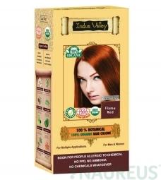 100% Rostlinná, 100% Organická barva na vlasy ohnivě červené