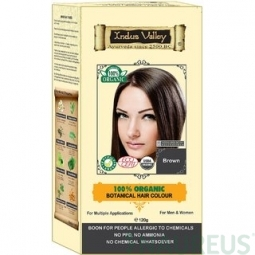 100% Rostlinná, 100% Organická barva na vlasy Hnědá
