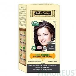 100% Rostlinná, 100% Organická barva na vlasy Světlehnědá