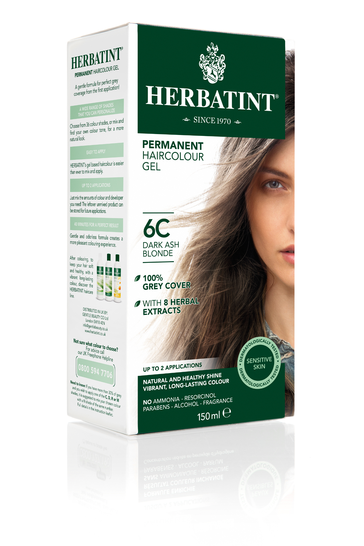 HERBATINT HERBATINT permanentní barva na vlasy tmavá popelavá blond 6C 150 ml