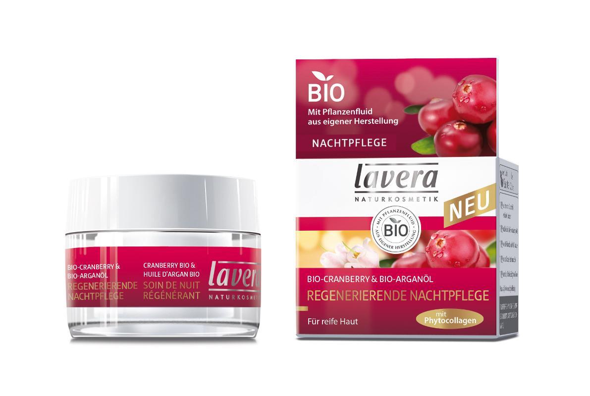 Lavera Regenerační noční krém 45+ Bio brusinka - Bio arganový olej 30 ml