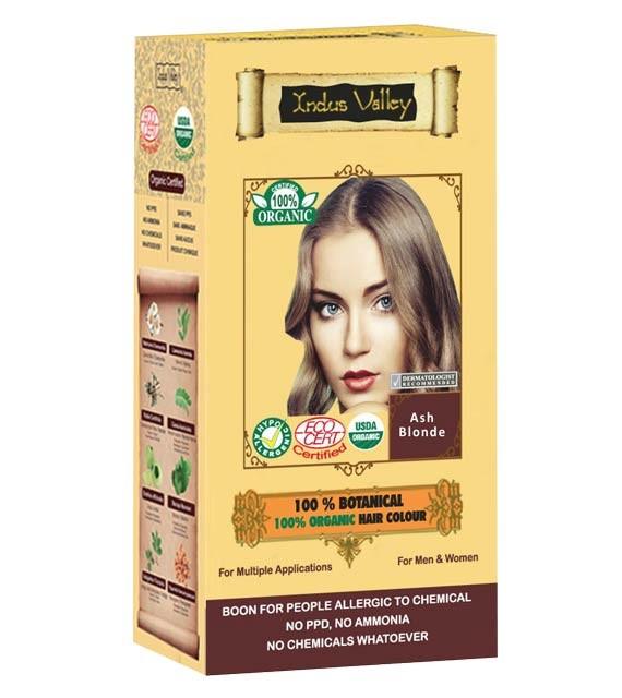 Indus Valley 100% Rostlinná, 100% Organická barva na vlasy Popelavá Blond 120 g
