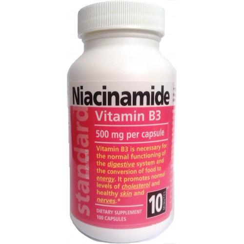 Vitamín B3, Niacinamid 500 mg, 100 kapslí