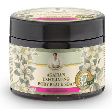Recipes of Babushka Agafia Agafja exfoliační tělové černé mýdlo 300 ml