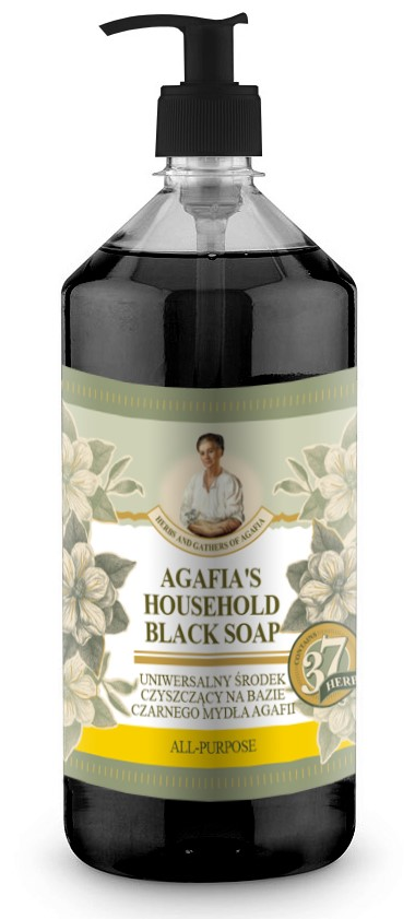 Recipes of Babushka Agafia Agafja víceúčelové černé mýdlo do domácnosti 1000 ml