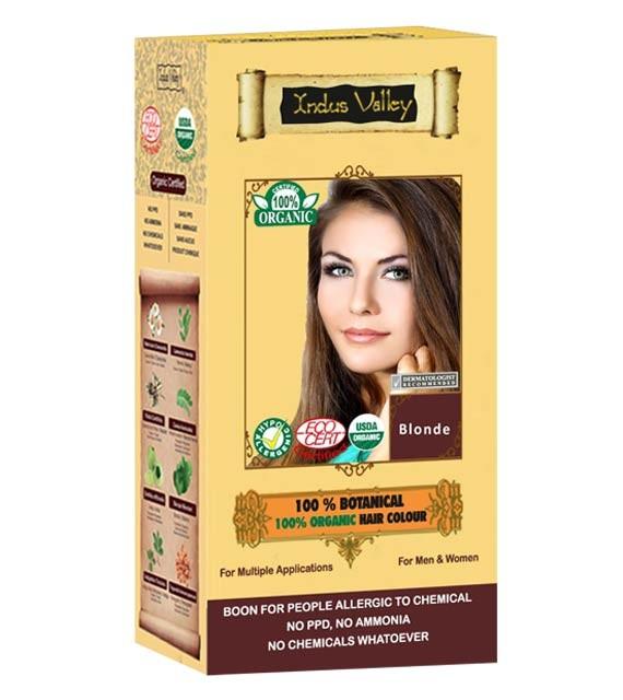 Indus Valley 100% Rostlinná, 100% Organická barva na vlasy Blond 120 g