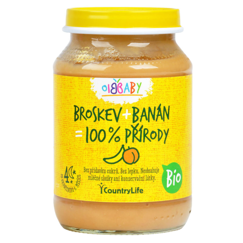 Country Life Příkrm broskev, banán 190 g BIO 190 g