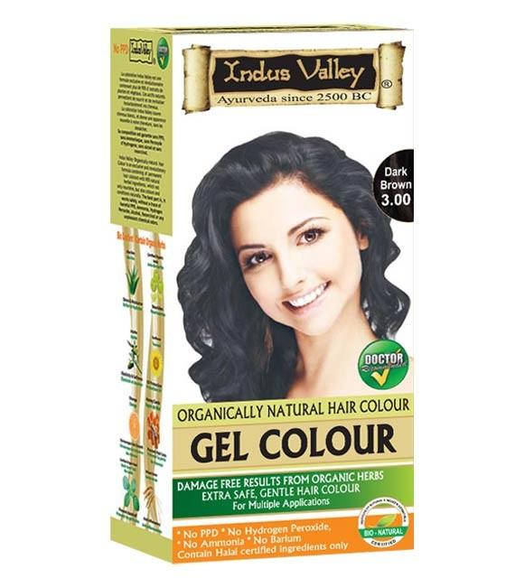 Indus Valley Gelová barva na vlasy Tmavě hnědá 3.0 20g+120ml+50ml+30ml