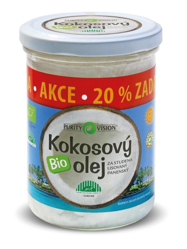 Purity Vision Kokosový olej panenský BIO 300ml + 20% zdarma 300 ml + 20 %
