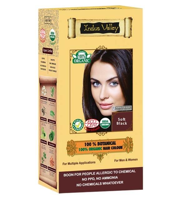 100% Rostlinná, 100% Organická barva na vlasy Jemná Černá